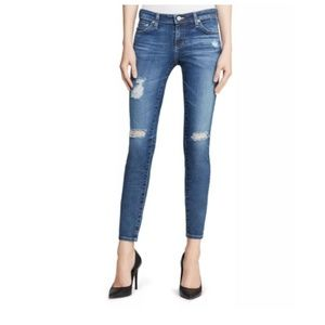 AG Mid Wash Distressed Legging Ankle Jean 29 R